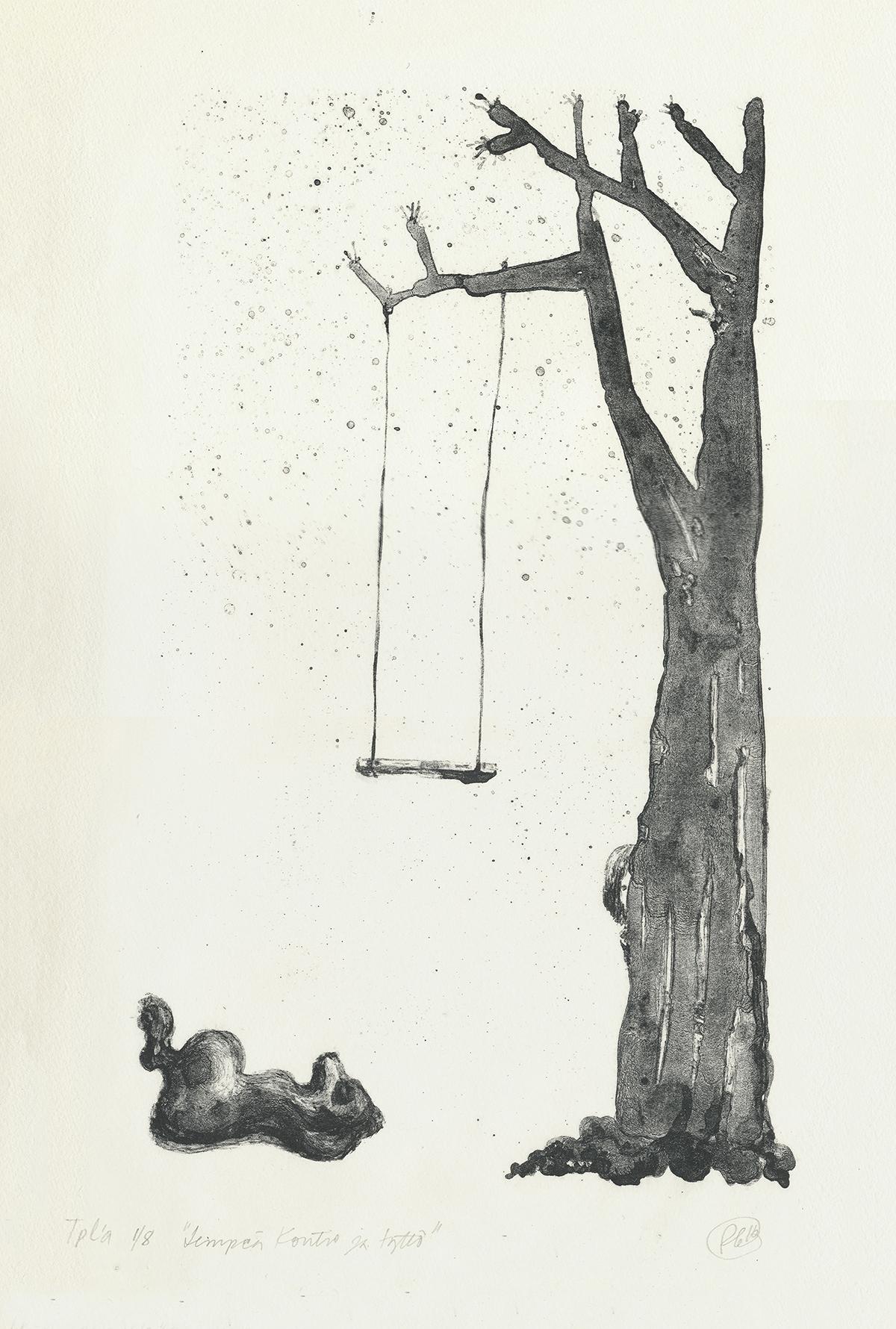Lempeä kontio ja tyttö litografia